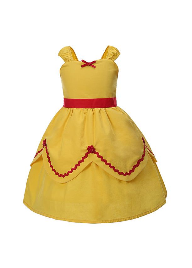 e0ef5c8b13a (ONLY 7-8Y Left)Yellow Belle Princess Girl Dress