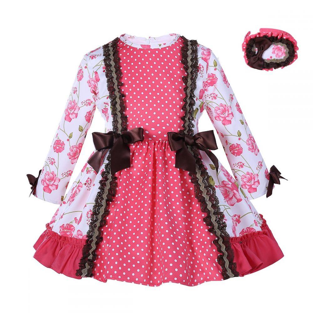 Autumn Pink Girls Flower Dress