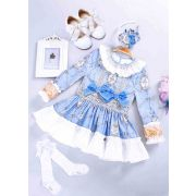 4 pcs Matching Sets - Dress + Headband + Shoes + Socks