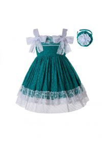 Girl Green Lace Sling Dress + Handmade Headband