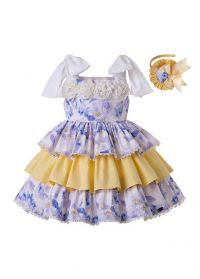 2020 Girls Flowers England Style Layered Party Dress + Hand Headband