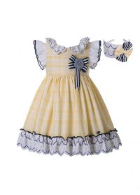 Vintage Boutique Garment Dyed Plaid Double-layered Summer Girls Dress + Hand Headband