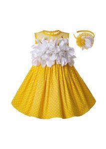 Newest Girls Easter Dress Summer White Flower Sleeveless Yellow Cotton Kids Dress  + Handmade Headband