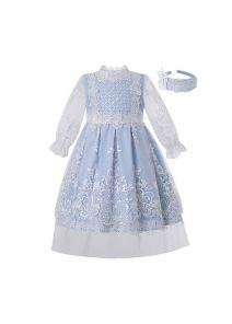 Boutique Princess Girls Light Blue England Style Embroidery Floral Pattern Dress + Hand Headband
