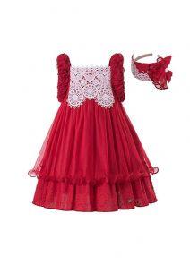 Sweet Girls Summer Plain Dyed Red Lace Princess Dress + Hand Headband