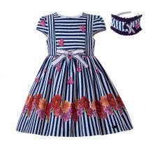 Girls Vintage Boutique Flower Pattern Striped Dress With Bow + Hand Headband