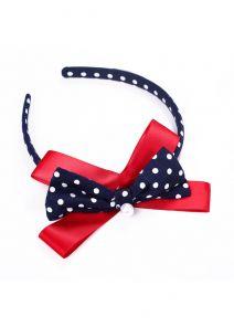 White Dots Red Bow Black Headband
