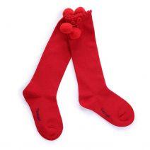 Girls Red Pom Pom Socks