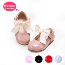 Camel Microfiber Leather Girls Shoes With Handmade Bow-knot
