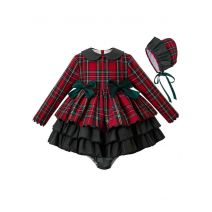 3 Pieces Christmas Party Babies Red Grid Layered Boutique Outfits + Blackish Green Bloomers + Hat