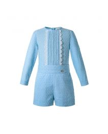 Baby Boys Blue Solid Outfit with Dots Shirt + Shorts