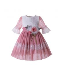 Girl Pink Rose Flower Mesh Communion Pageant Dress