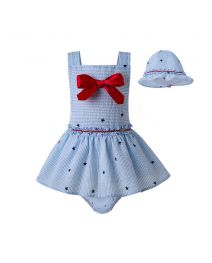 3 Pieces Babies Red Bow Ruffled Boutique Princess Outfits + Light Blue Bloomers + Hat