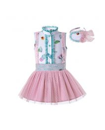 2020 Girls Clothing Set Pattern Printed Shirt + Pink Princess Skirt +Hand Headband