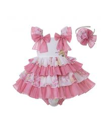 3 Pieces Babies Sweet Cute Bows Boutique LayeredOutfits +Sweet Bloomers + Hat