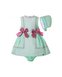 3 Pieces Babies Mint Green Boutique Preppy Style Outfit With Bows + Cute Bloomers + Hat