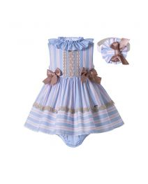 3 Pieces Babies Princess Summer Sweet Bows Striped Outfit + Cute Bloomers + Hat