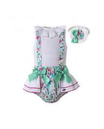 3-piece Sleeveless White Top and Floral Patterns Shorts + Handmade Headband