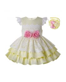 Light Yellow Girls With Pink Flowers Kids Princess Dress + Handmade Headband