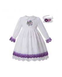 White GirlsEmbroidered Flower Turn-down Collar Vintage Princess Dress + Hand Headband