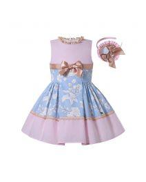 Summer Girls Pink Ribbons Bows Print Sweet Princess Dress + Hand Headband