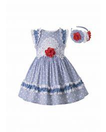 Girls Summer Plain Dyed Dot Boutique Dress With Red Flower + Hand Headband