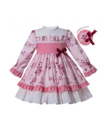 Boutique Princess Pink Girls Floral-Print Ribbons Bow Ruched Autumn  Dress + Handmade Headband
