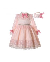 (PRE-ORDER)Summer Luxury Lantern Sleeve Lace Bowknots Girls Dress