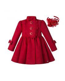 Autumn & Winter Girls Red Single Breasted Wool Coat + Handmade Headband