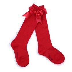 Girls Red Socks With Handmade Bow-knot