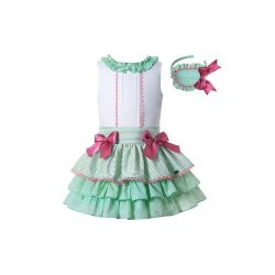 Summer Boutique Girls Ruffled White Shirt + Princess Layer Skirt +Hand Headband