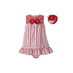 3 Pieces Babies Red Striped Princess Ruffles Outfit + Cute Bloomers + Hand Headband