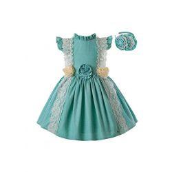 Mint Green Princess Dress With Stereoscopic Flower + Handmade Headband