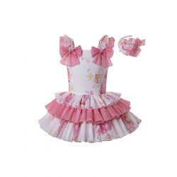 Boutique Girls Princess Floral Cute Bows Sweet Layered Dress + Hand Headband