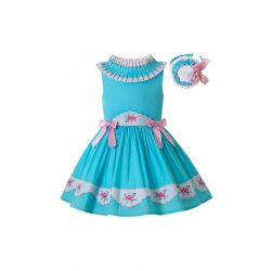 Girls Crew Neck Embroidered Floral Pattern Sleeveless Dress + Headband
