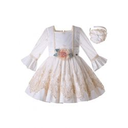 Summer Girls Boutique Khaki&White Square Collar Emboridery Floral Vintage Dress + Hand Headband