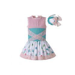 Light Pink Pattern Printed Lolita Style Princess Dress +Hand Headband