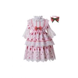 Spring Pink Vintage Boutique Girls Pattern Layered Ruffles Dress + Hand Headband