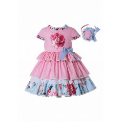 Pink Rose Floral Print Boutique Princess Girls Dress + Hand Headband