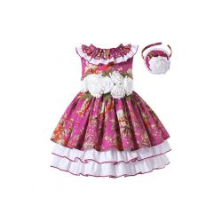 Girls Burgundy Boutique Ruffle White Rose Princess Dress + Hand Headband
