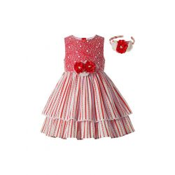 Red Striped Sweet Girls Pearls Ruffles Layered Dress With Flowers+ Hand Headband