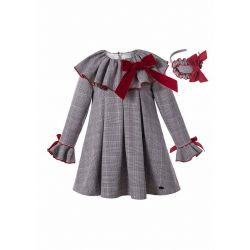 (Pre-sale Products) Grey Check Garment Dyed Double-layered Boutique Girls Vintage Dress With Red Bow + Hand Headband
