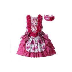 Rose Red Lace Bows Dots  Sleeveless Floral Patterns Girls Dress + Handmade Headband