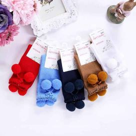 Girls Blue Pom Pom Socks