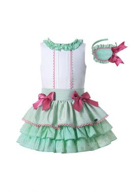 (Only Size 6Y 8Y&10Y) Summer Boutique Girls Ruffled White Shirt + Princess Layer Skirt +Hand Headband
