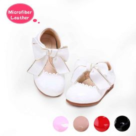 (Pre-sale Products) White Microfiber Leather Girls Shoes With Handmade Bow-knot