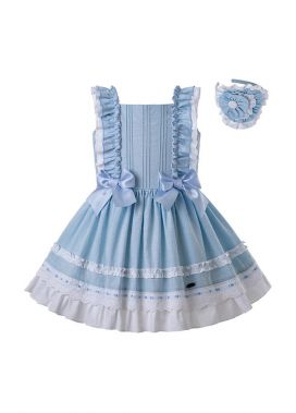 Newest Summer Girls Dress Sky Blue Princess Dresses For Girls With Bows + Handmade Headband