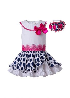 Polka Dot White&Black Ruffled With Cute Bow Boutique Dress + Hand Headband