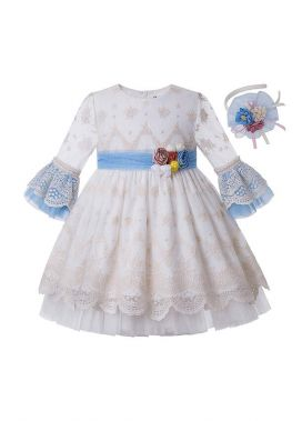 Girls White Vintage Yarn Dyed Spring  Boutique Dress + Hand Headband