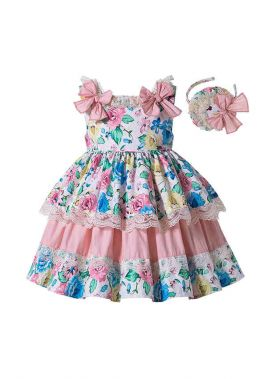 Girls Sweet Princess Flower Printed Lace Layer Dress With Bow + Hand Headband
